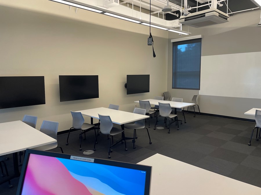 Roux 302. View from the instructor podium towards the classroom.