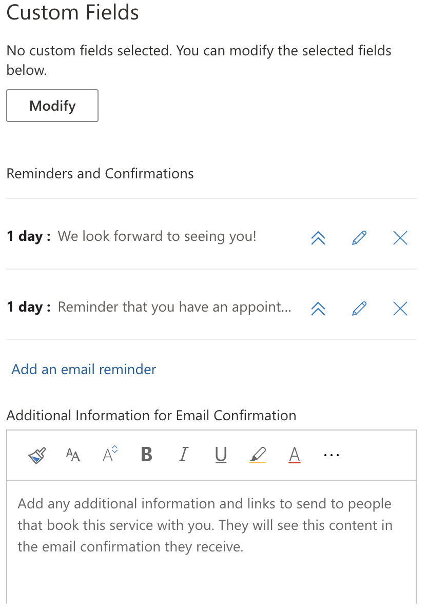 Custom fields, reminders and confirmation