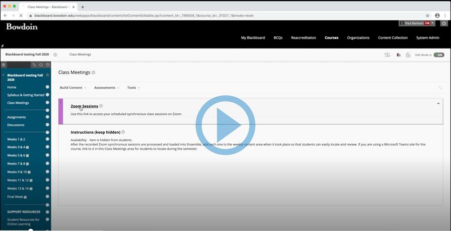 Screenshot of video tutorial in Blackboard.