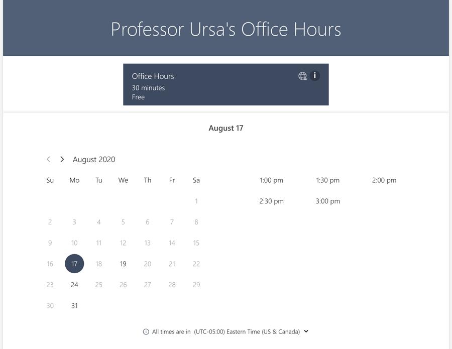 Professor Ursa's Office Hours