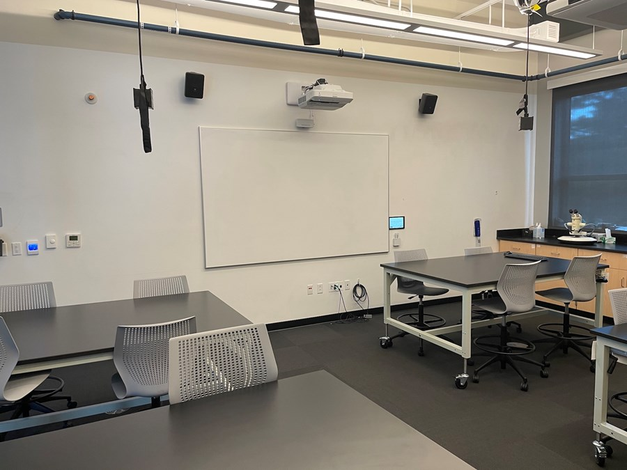 Roux 303. View from the class towards the whiteboard projector.