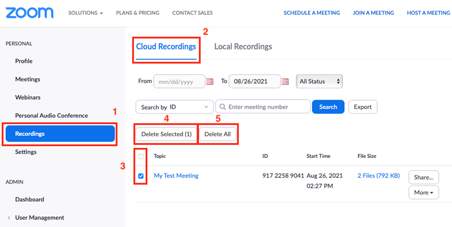 Screenshot of the Recordings section in a Zoom account demonstrating how to delete saved recordings.