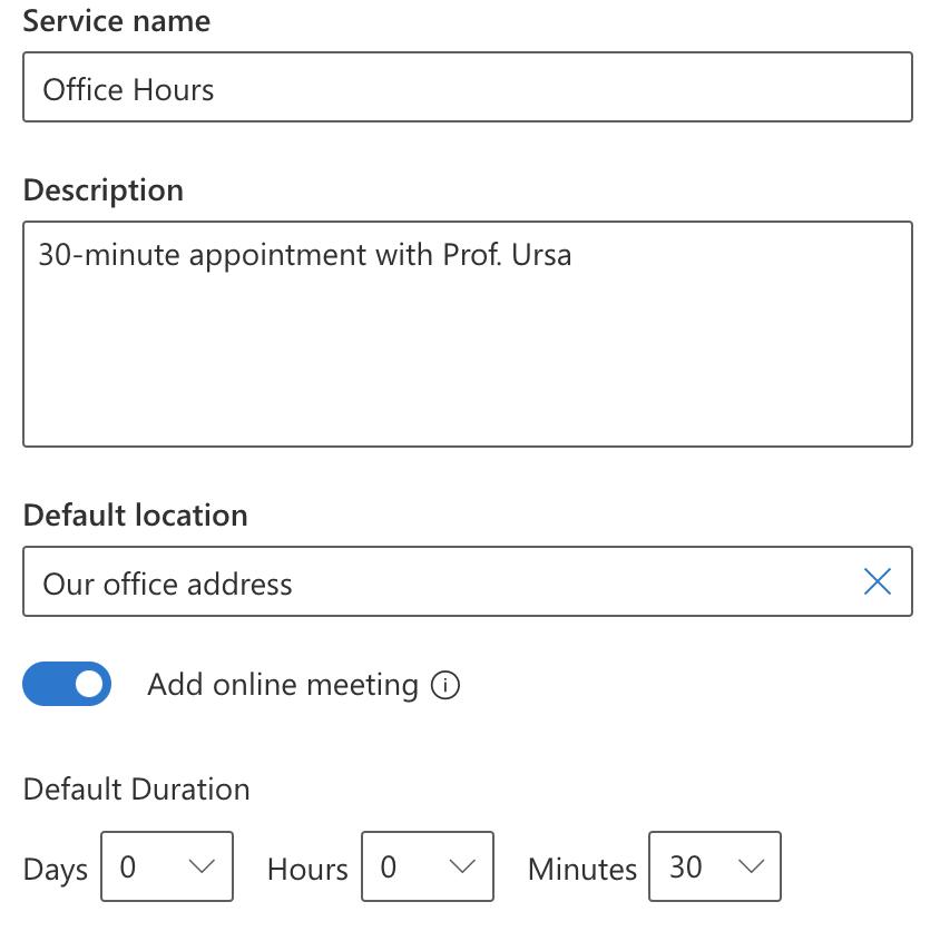 Service Name, Description, Location, Duration