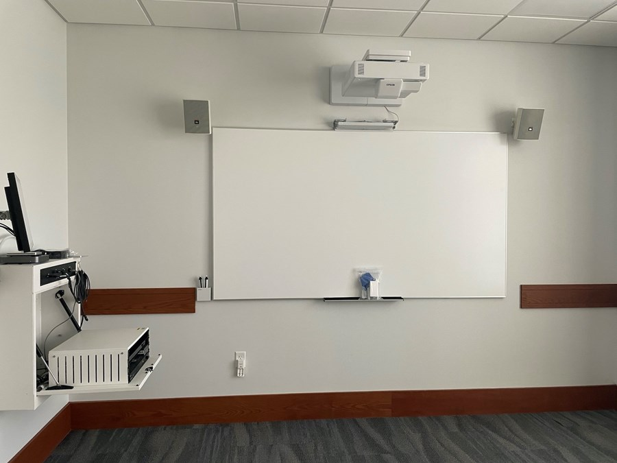 Hatch 210. View from class towards interactive whiteboard. Table is not in this image.
