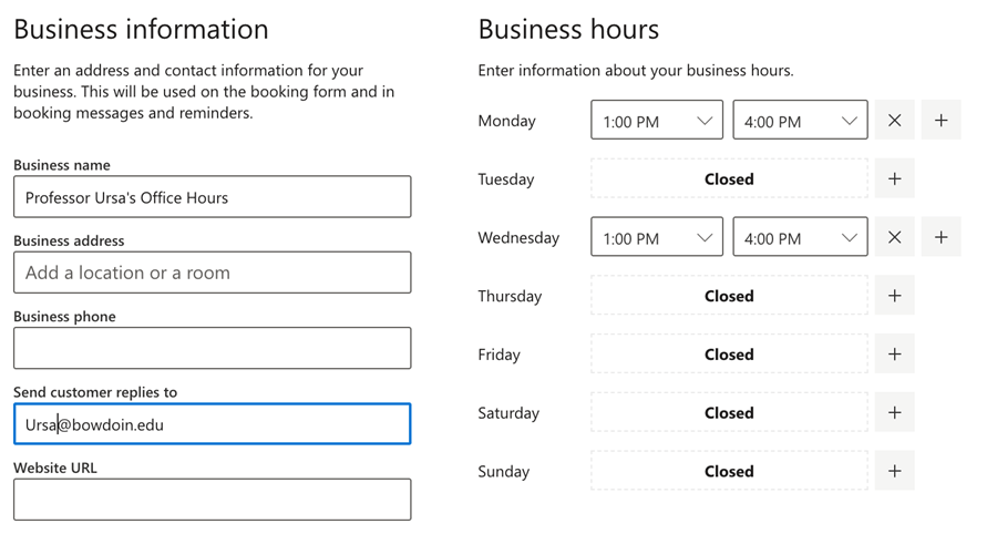 Setup your business in Bookings.