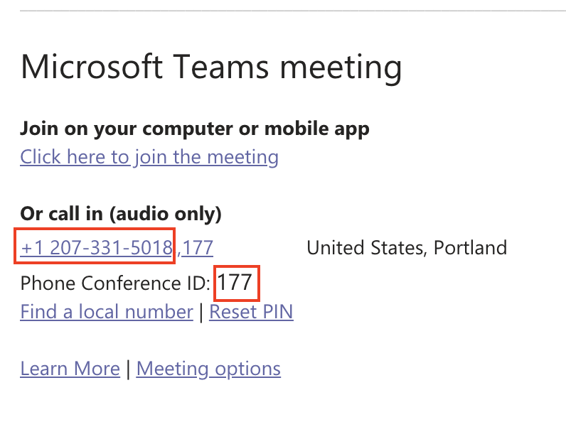 Microsoft Teams Dial-In Information