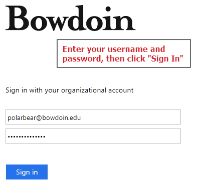 sign in with your email username and password