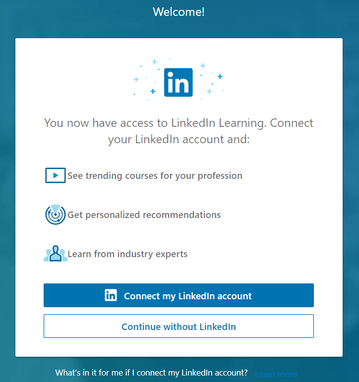 Connect Linkedin account with Linkedin Learning.