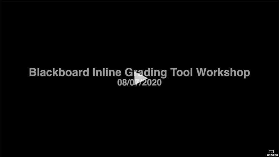 Title screen for the video recording of Blackboard Inline Grading