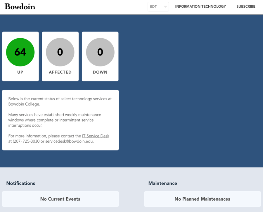 Screenshot of the landing page for Bowdoin's StatusHub System Status Service.