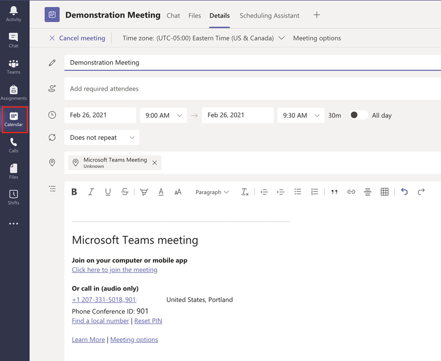 Screenshot of a calendar entry in Microsoft Teams showing the Dial-in Phone number.