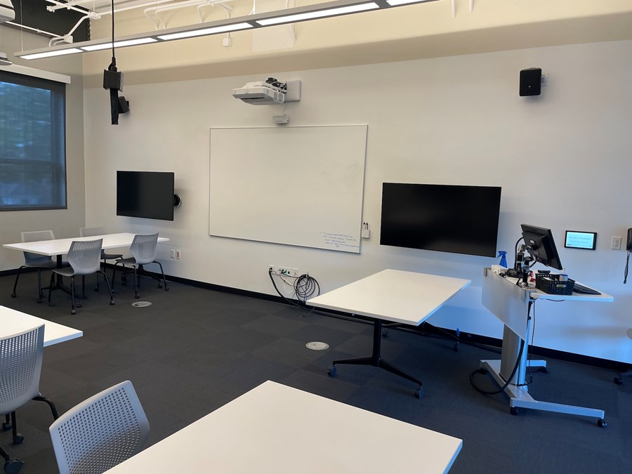 Roux 302. View from the classroom towards the instructor podium.